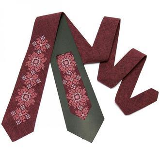 Модный вышитый галстук №667, подарок мужчине, сувенир из Украины