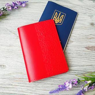 Обложка на паспорт красные восточные узоры