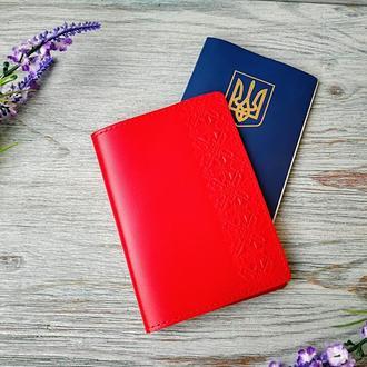 Обложка на паспорт красная вышиванка в 1 полосу