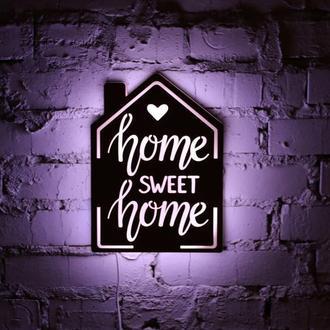 """Ночная лампа из натуральной древесины """"Home, sweet home"""""""