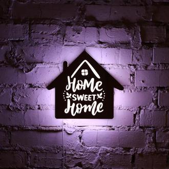"Нічна лампа з натуральної деревини ""Home, sweet home"""
