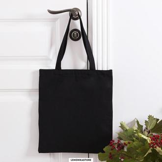 Черная эко сумка со змейкой / без змейки.