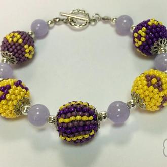 Браслет желто-фиолетовый