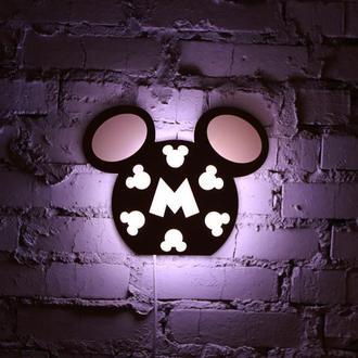 """Ночная лампа из натуральной древесины  """"Мики Маус"""""""