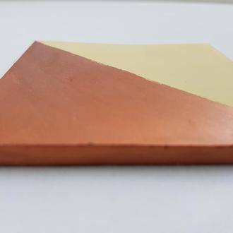 Подставка под горячее квадратная - желтый с бронзой
