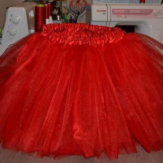 юбка -пачка красная Фатин +атлас