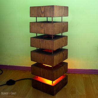 Деревянный напольный светильник из бруса Beaver's Heart.