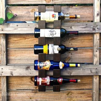 Настенный держатель винных бутылок