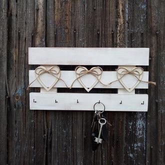 Вешалка настенная белая в прихожую для ключей