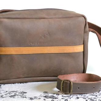 Мужская сумка из натуральной кожи Crazy horse. Натуральная кожа.