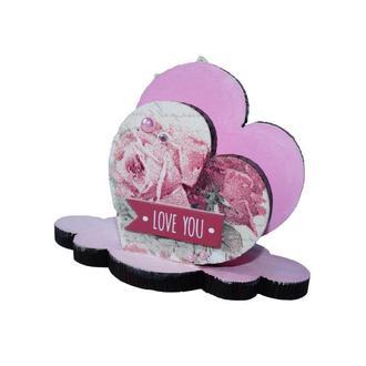 Салфетница из дерева Розовые сердца