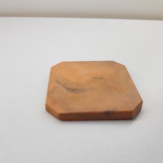 Подстаканник (подставка под горячее) квадратная - черная с коричневым