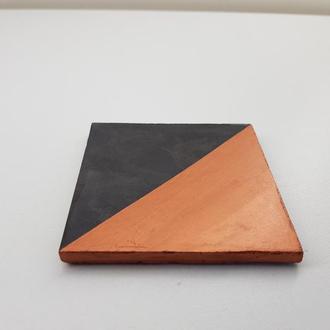 Подставка под горячее квадратная - черный с медью