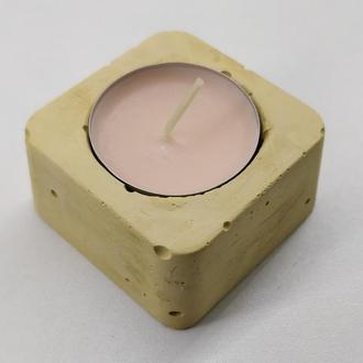 Підсвічник з бетону - жовтий (квадрат)