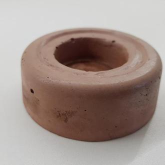 Подсвечник из бетона - белый с оранжевым (круглый)
