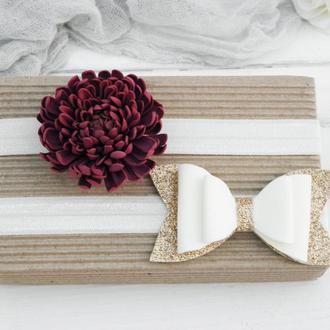 Повязки для малышки, Детская повязка с цветками, Бантики для девочки