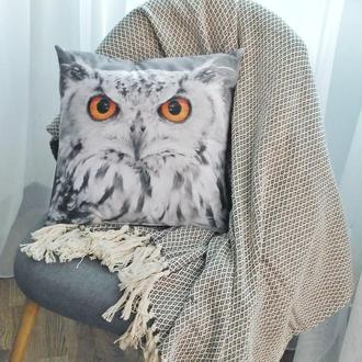Подушка Сова фото белая 40*40см