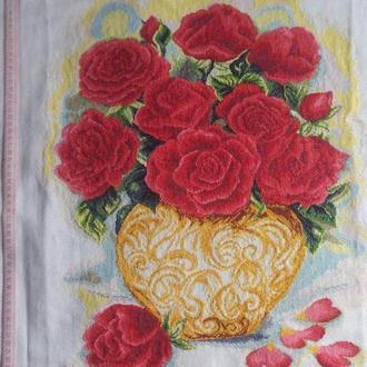Вышитая картина. Мулине. 04-1 Розы в вазе.
