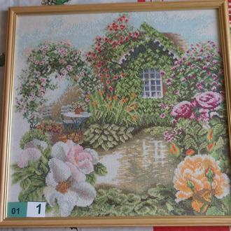 Вышивка крестом. Картина в рамке. 01-1 Розовый сад.