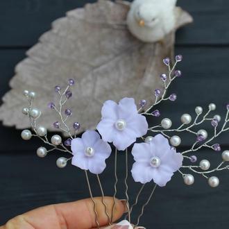 Комплект нежных шпилечек с цветами из полимерной глины, керамическим жемчугом и хрустальным