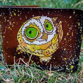 Женское портмоне, женский кошелёк с совой, сова на кошелька, кожаный кошелёк