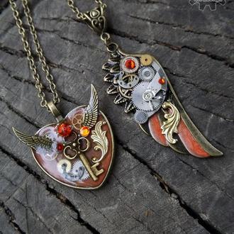 Оранжевый набор  - парные кулоны крыло и сердце в стиле стимпанк (под заказ на сентябрь)