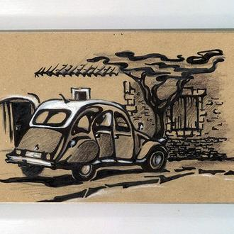 Картина графика. Прованс,старое авто.