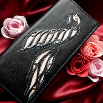 """Жіночий шкіряний гаманець """"Пташка """""""