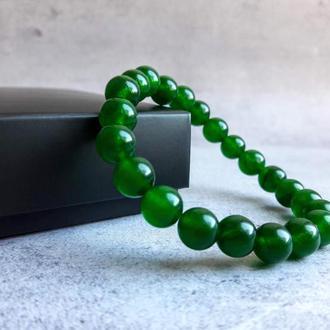 Зеленый браслет из хризопраза, стиль минимализм