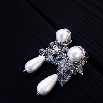 Сережки з перлами Майорки та кристалами серьги свадебные с жемчугом белые серьги