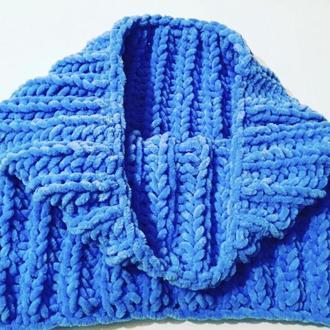 Снуд хомут шарф вязаный плюш велюр
