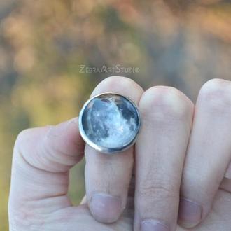 Кольцо с луной, Кольцо космическое, Кольцо месяц, Серое кольцо