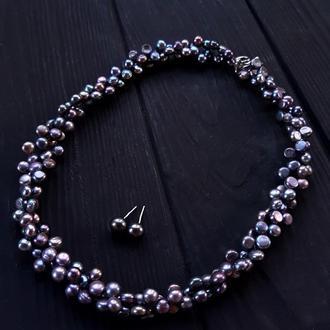 Кольє пишне з натуральних срібно-сірих перлів бусы из серого жемчуга