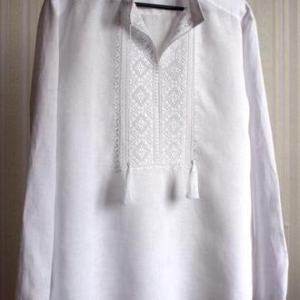 Чоловіча сорочка з вишивкою білим по білому, довгий рукав