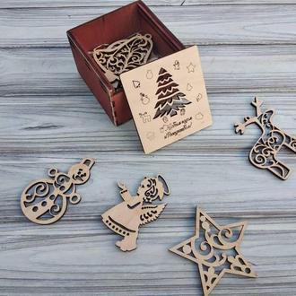 Набор красивых деревянных Ёлочных игрушек в подарочной коробке, деревянные елочные игрушки Новый Год