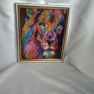 """Картина бисером """"Цветной лев"""" в уникальной технике"""