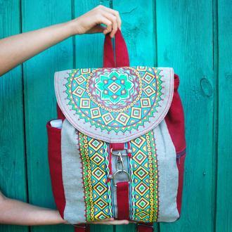 Городской женский текстильный рюкзак с росписью