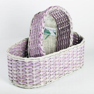 Плетеная корзина для мелочей  из бумажной лозы с картонным дном