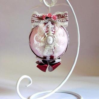 Дизайнерский декор с подставкой розовый & бордо большой