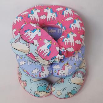 Двухсторонняя дорожная подушка на шею из плюша и хлопка - единороги