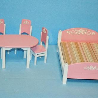 Мебель для кукол Набор с обеденным столом и кроватью