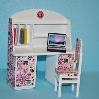 Мебель для кукол стол письменный со стулом