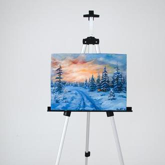 Картина маслом Зимний пейзаж Масляная живопись
