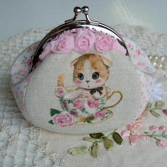 Романтичний гаманець косметичка з фермуаром