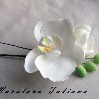 шпилька в волосы с веточкой орхидеи