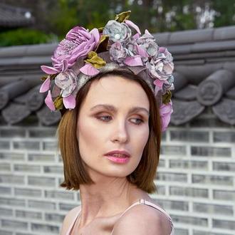 """Венок-ободок с цветами из ткани """"Дениз"""""""