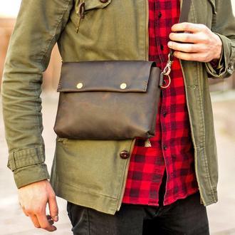 Мужская сумка Cross-Body + Подарок. Сумка из натуральной итальянской кожи Crazy Horse.