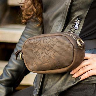 Женская кожаная сумка - трансформер + Подарок (на пояс / через плече). Натуральная итальянская кожа.