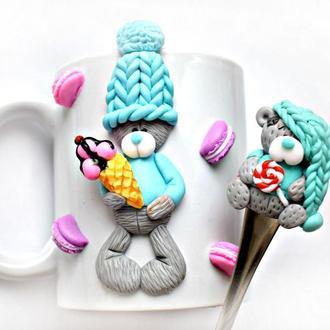 кружка с декором,  чашка с декором, чашка тедди, чашка из полимерной глины, ложка тедди