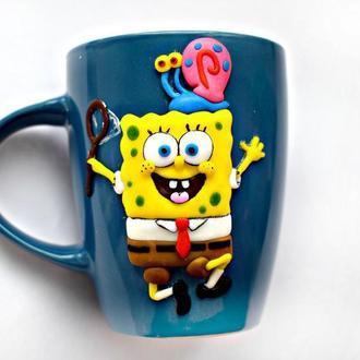Чашка спанч боб, кружка губка боб, чашка с декором спанч боб, кружка с декором, чашка из полимерной